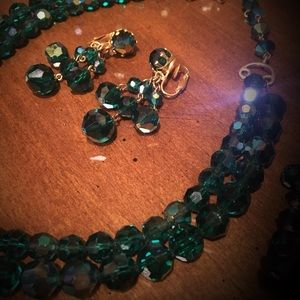 Vintage Mermaid Green Choker Set Excellent Cond